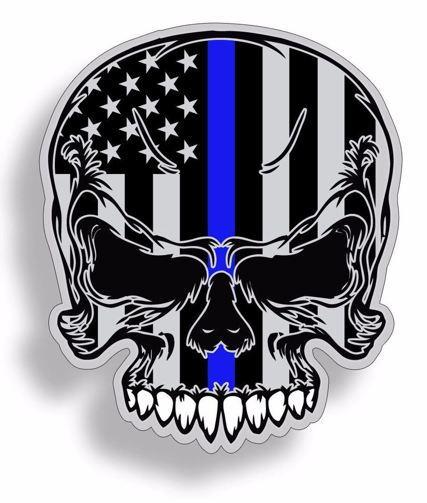 Skull Usa Blue Line Flag Sticker Police Hard Hat Cup Car
