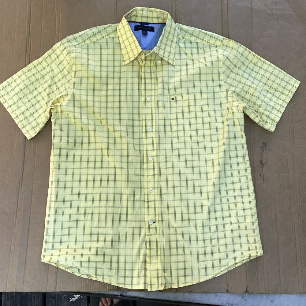 40def65d Details about Mens Tommy Hilfiger Short Sleeve Custom Fit Button Down Shirt  Blue/Yellow Plaid