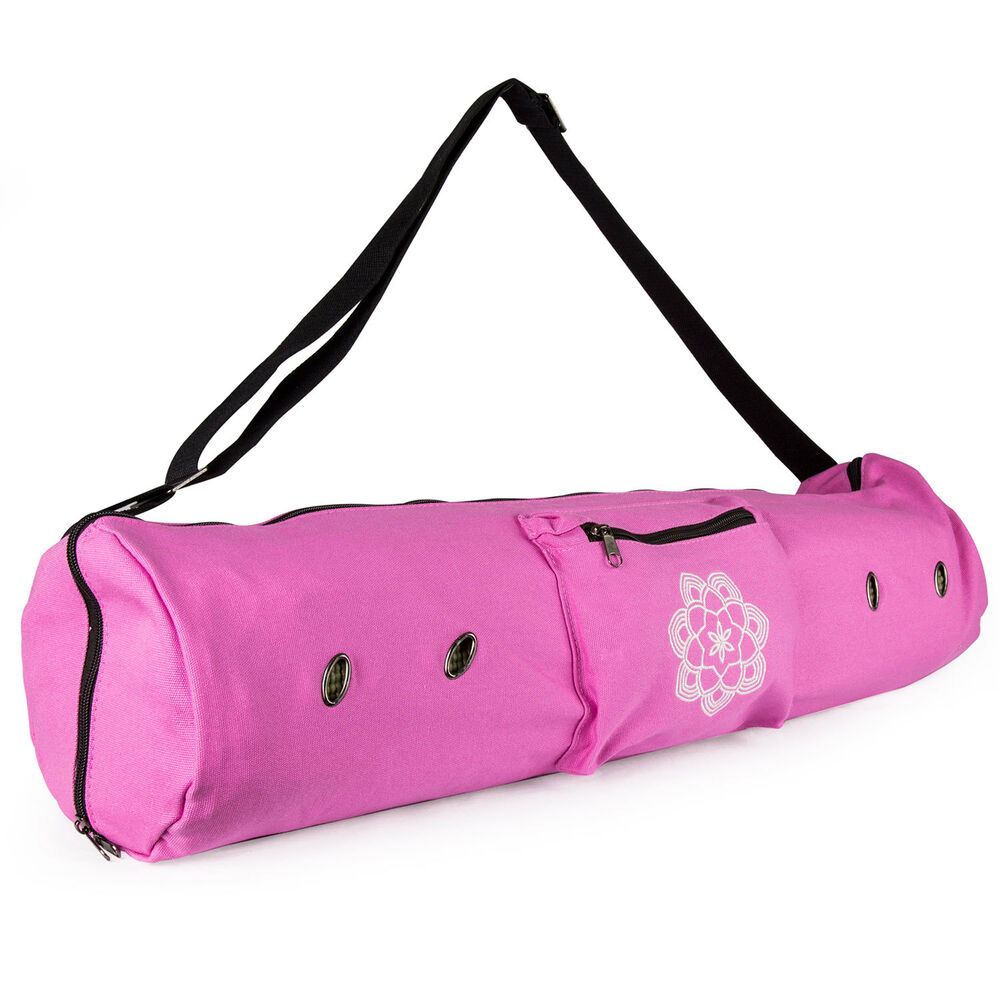 ecf77feaef8 Details about Peace Yoga Mat Carrier Tote Bag with Ventilation Eyelets &  Adjustable Strap
