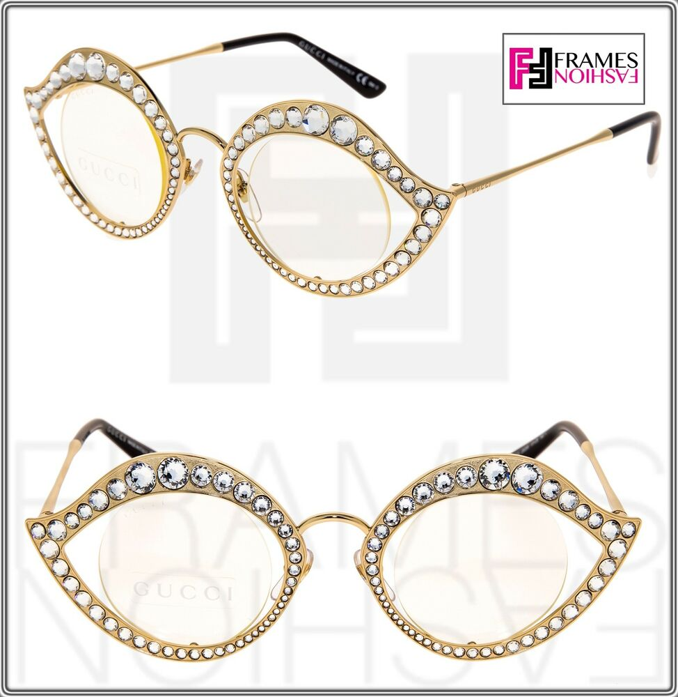 98b717eb9a5 GUCCI LIPS CRYSTAL Sunglasses 4287 Cat Eye Gold Metal Frame RX Glasses 0046