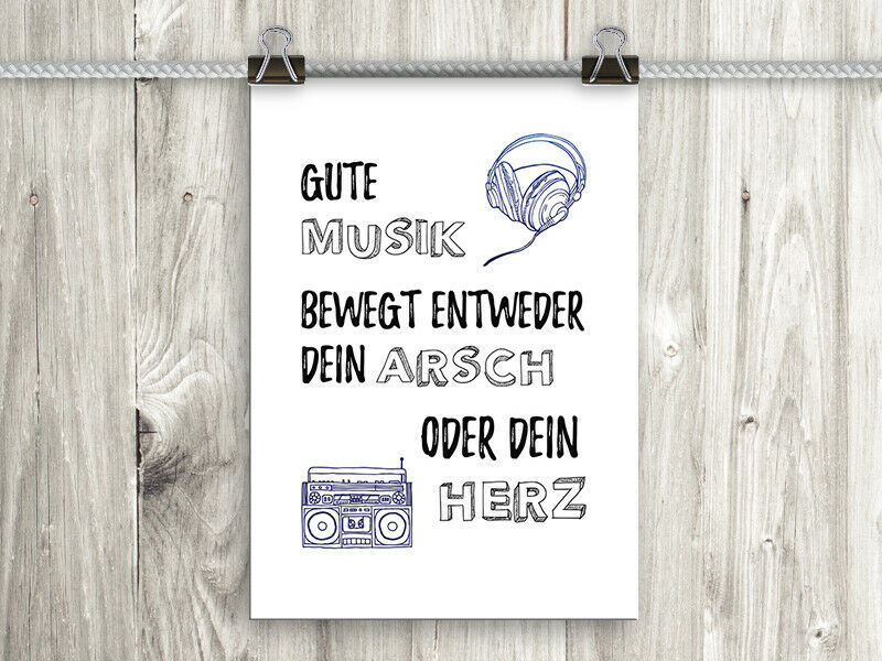 artissimo poster mit spruch plakat kunstdruck bild wandbild spr che musik ebay. Black Bedroom Furniture Sets. Home Design Ideas