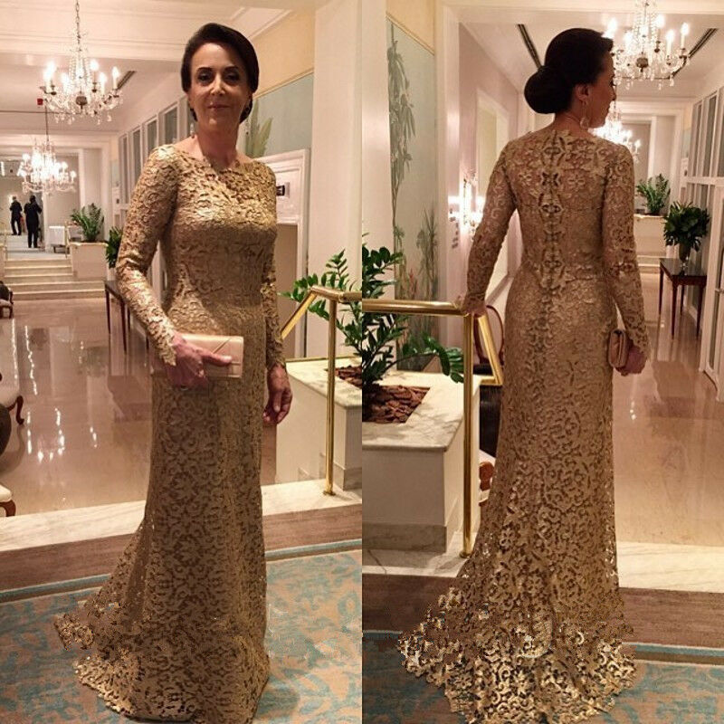 Gold Lace Mother Of The Bride Dresses Long Sleeve Sheath Elegant