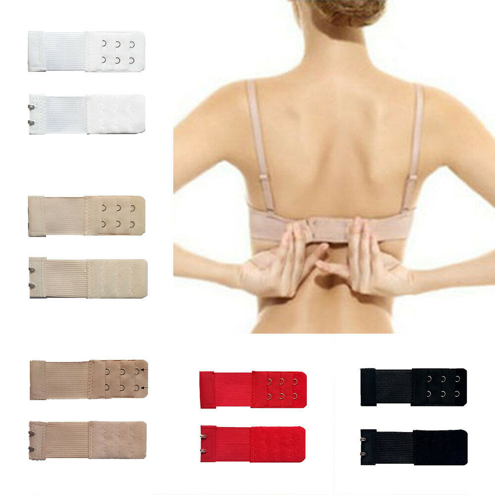 3aa85e8453 Details about Women s Elastic Bra Extenders Strap Clip On Extension Buckle  3 Rows 2 3 4 Hooks