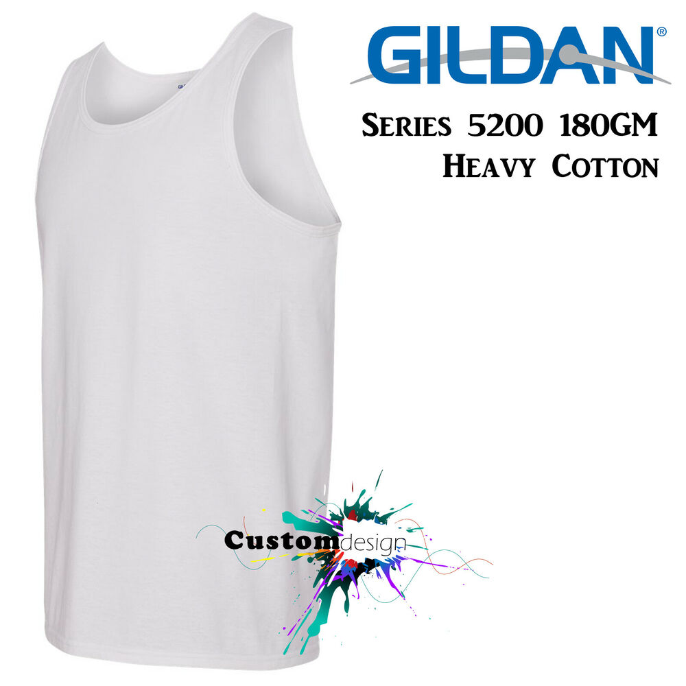 a64b6f7eeede1 Details about Gildan White blank plain Tank Top Singlet Shirt S-3XL Men s  Heavy Cotton premium