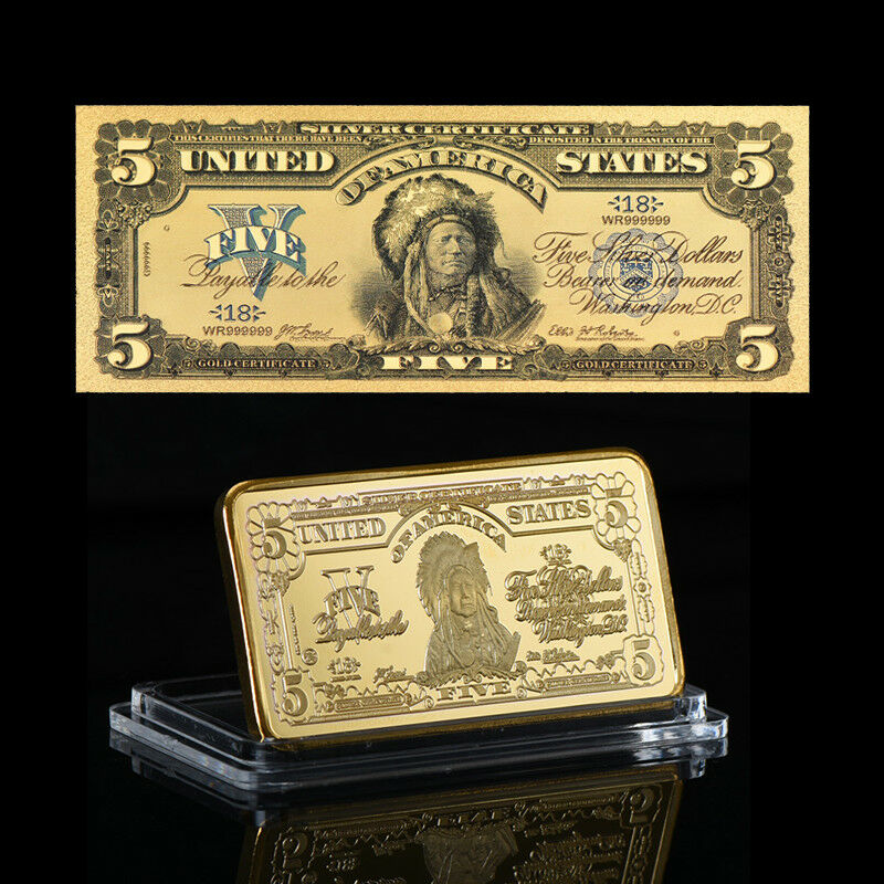 Wr Us 1899 5 Indian Chief Silver Certificate Gold Banknote Gold