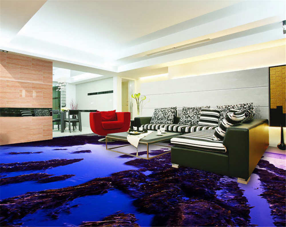 ruhig blaues wasser 3d fu boden wandgem lde foto bodenbelag tapete zuhause deko ebay. Black Bedroom Furniture Sets. Home Design Ideas