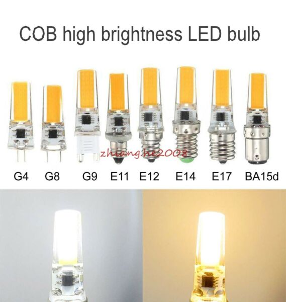 Dimmable COB LED GY6.35 G4 G8 G9 E10 E11 E12 E14 E17 BA15d Lamp bulb Warm/White