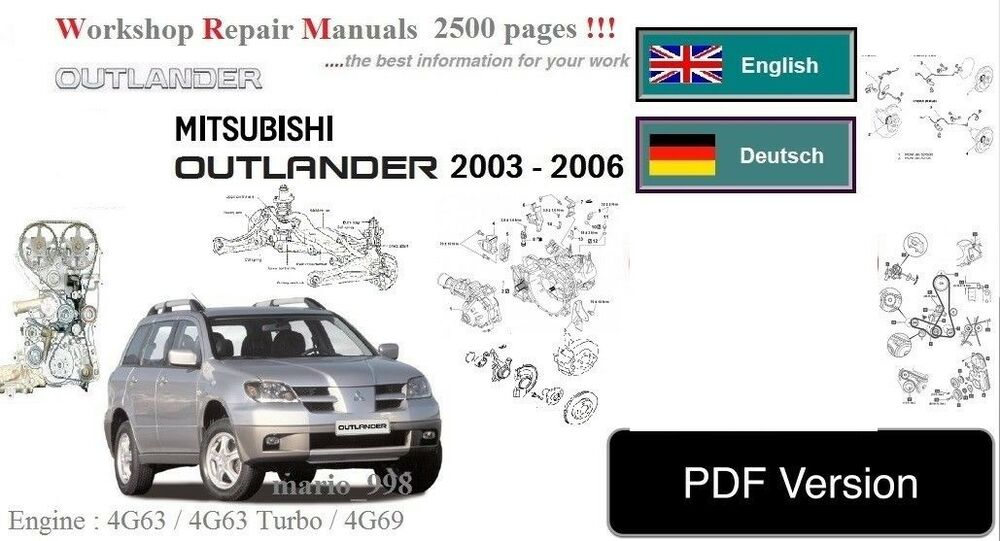 mitsubishi outlander 2003 2007 workshop service manual full pdf ebay rh ebay co uk