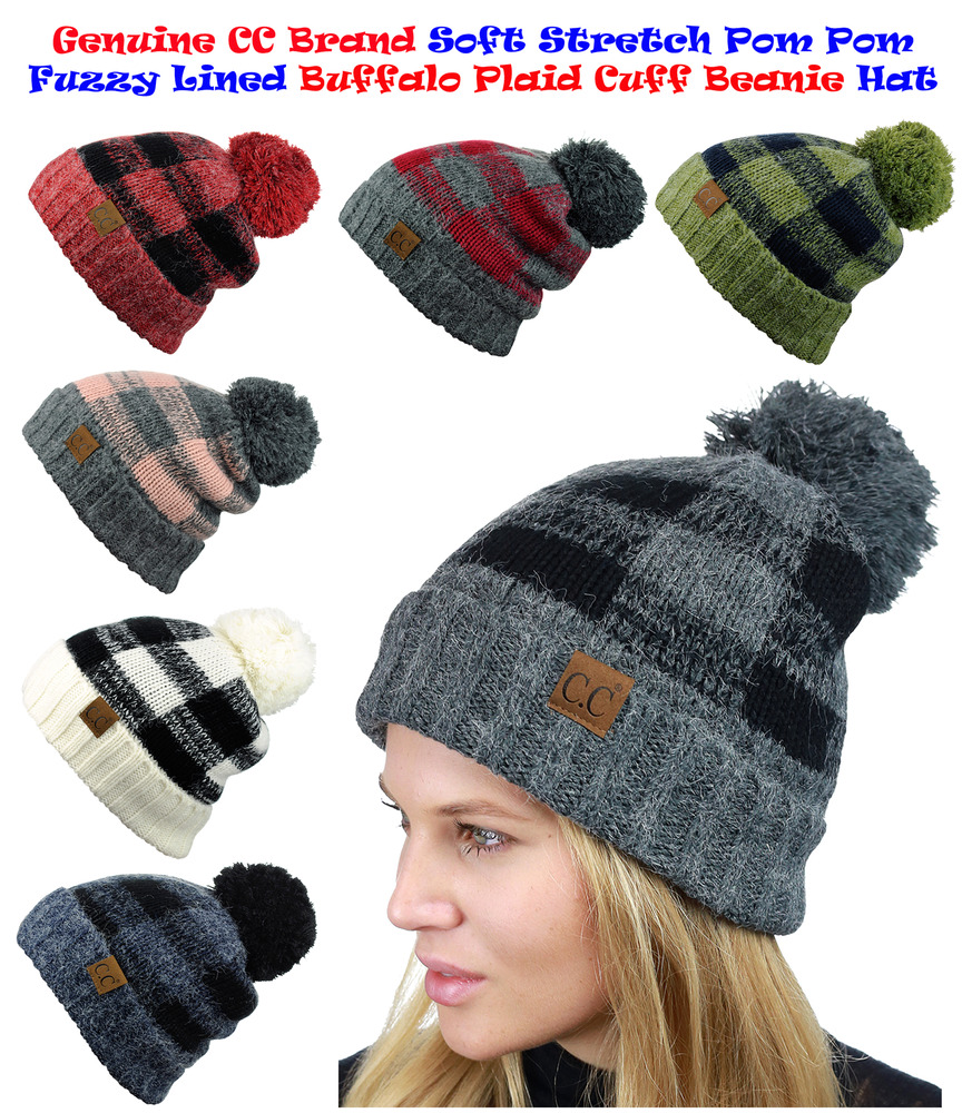 CC Beanie Soft Stretch Pom Pom Fuzzy Lined Buffalo Plaid Cuff Beanie Hat  2ed39a43153