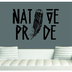 Native Pride Feather Wall Decal/Sticker Art  24''X 16'' Native Home Decor