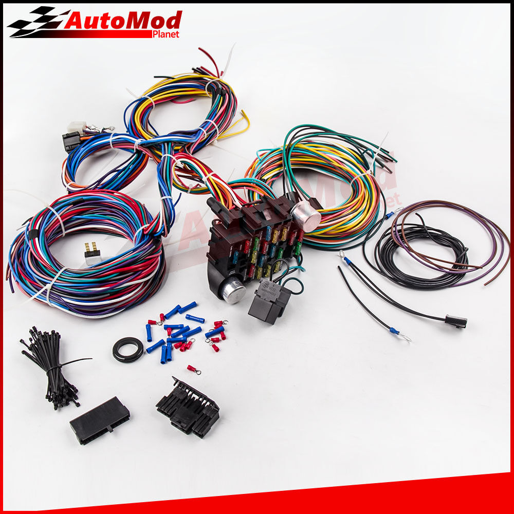 21 Circuit Wiring Harness For Chevy Mopar Ford Hotrod Universal Messages Extra Long Wires 6941538316697 Ebay