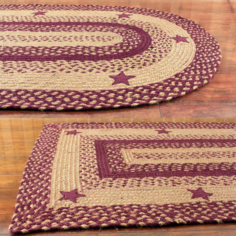 Star Wine Braided Area Rug By IHF Rugs. Oval & Rectangle