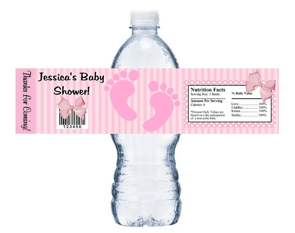 10 PINK FOOTPRINTS PERSONALIZED BABY SHOWER FAVORS WATER BOTTLE ...