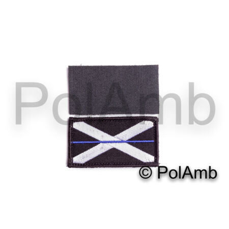 img-Thin Blue Line Scottish Police Scotland Hook Loop Backed Badge Patch Small