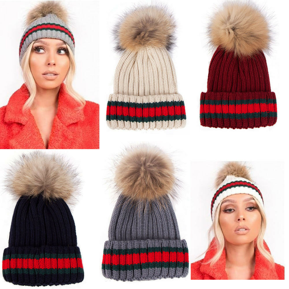 0a674a57387 Details about Womens Designer Green Red Stripe Real Fur Detachable Pom Pom  Knitted Beanie Hat