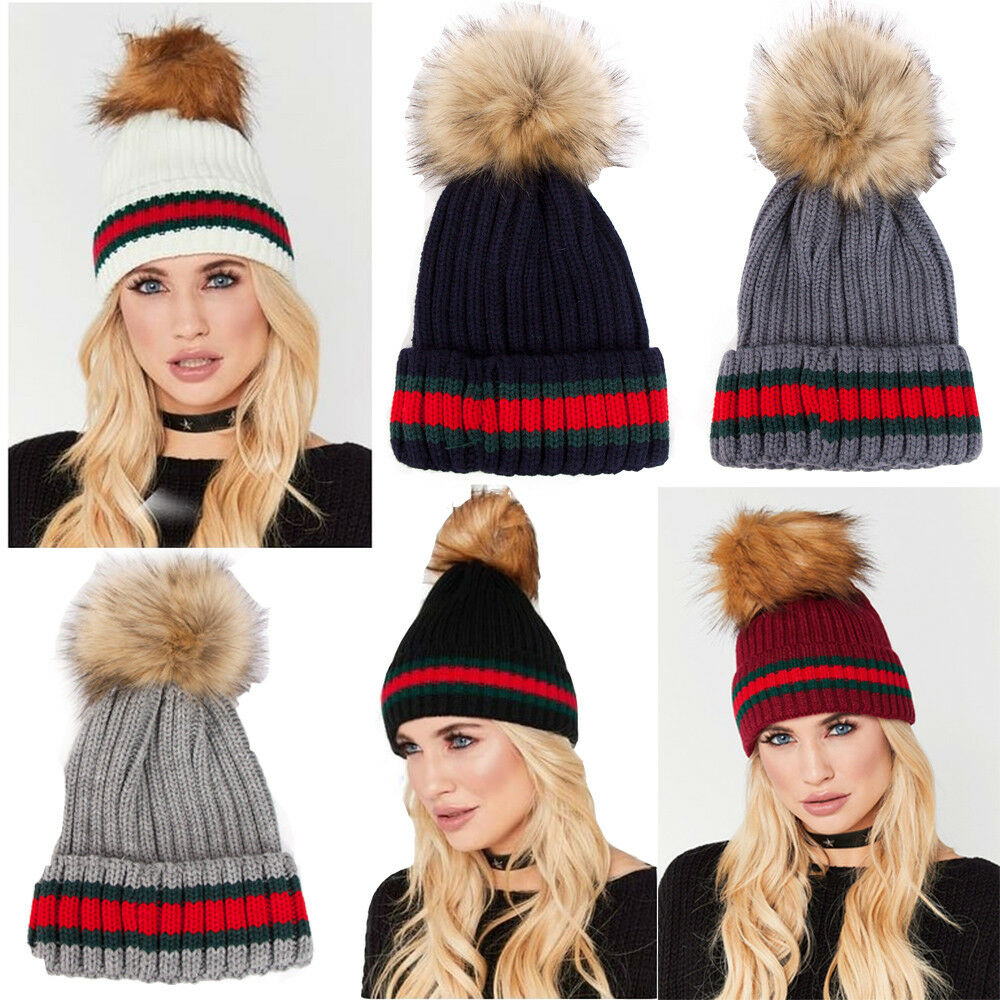 5a97c0900ec Details about Womens Designer Green Red Stripe Knitted Faux Fur Detachable  Pom Pom Beanie Hat