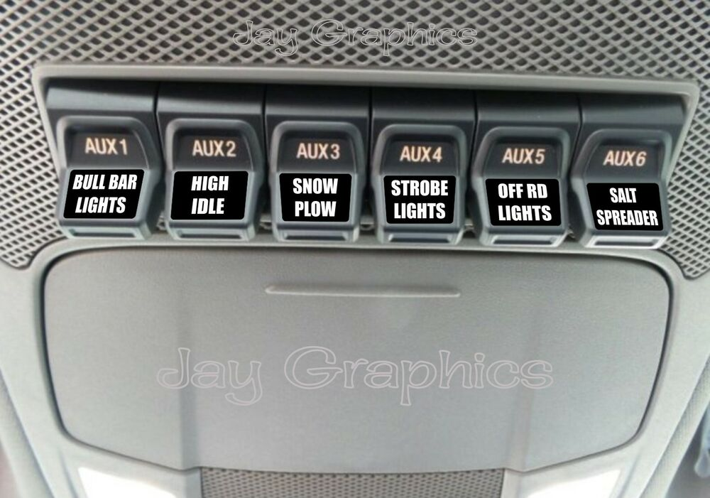 custom upfitter switch decals labels ford f250 f350. Black Bedroom Furniture Sets. Home Design Ideas