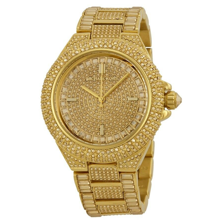 c12ceae48c23 Details about NEW MICHAEL KORS MK5720 CAMILLE GOLD TONE CRYSTAL GLITZ  LADIES WATCH UK