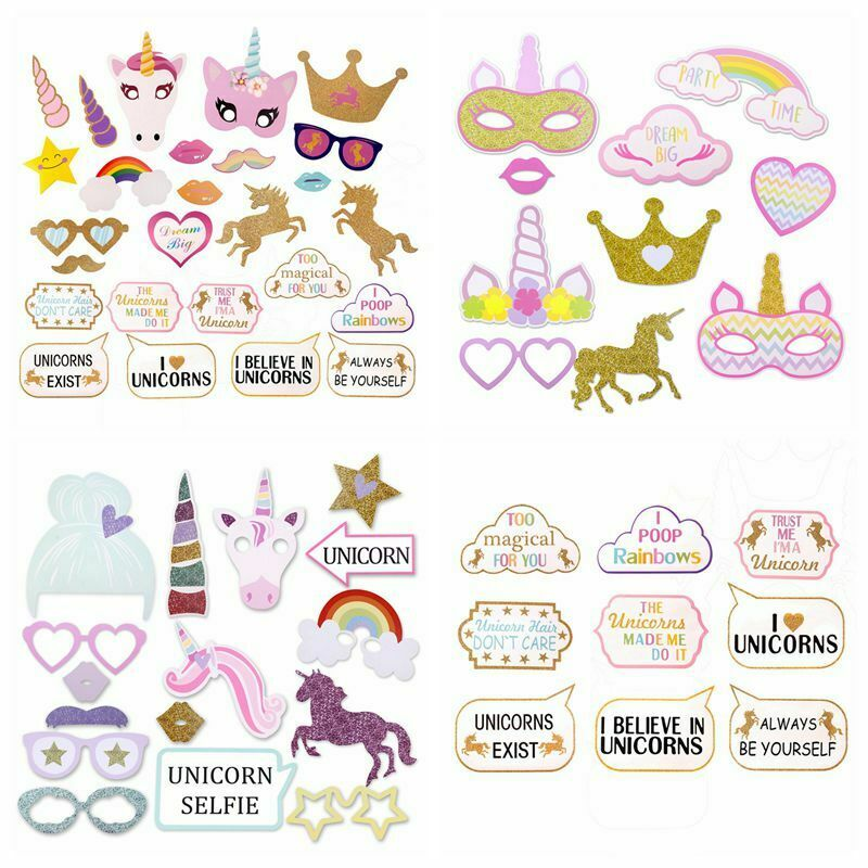 Rainbow Unicorn Pegasus Party Photo Booth Props First