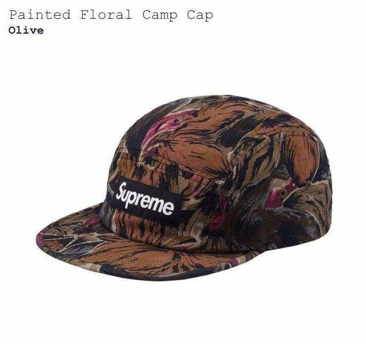 Supreme Painted Floral Camp Cap Olive NEW SS17 100% Authentic  1e8fdbaeede