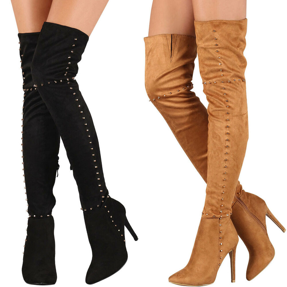 Lace up Over the Knee Boot Vegan Suede Thigh High Trendy
