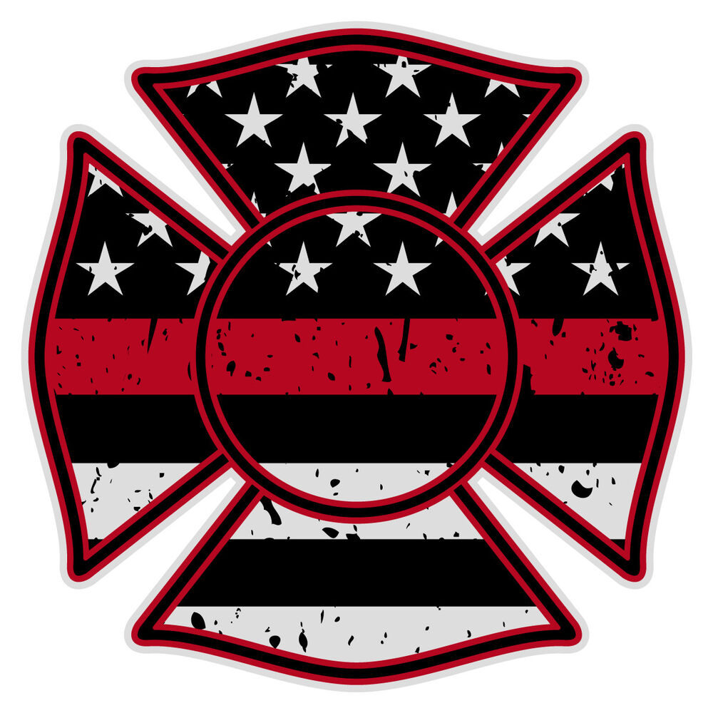 Firefighter Maltese Cross Distressed Black Flag Red Line Reflective 2 Quot Decal Ebay