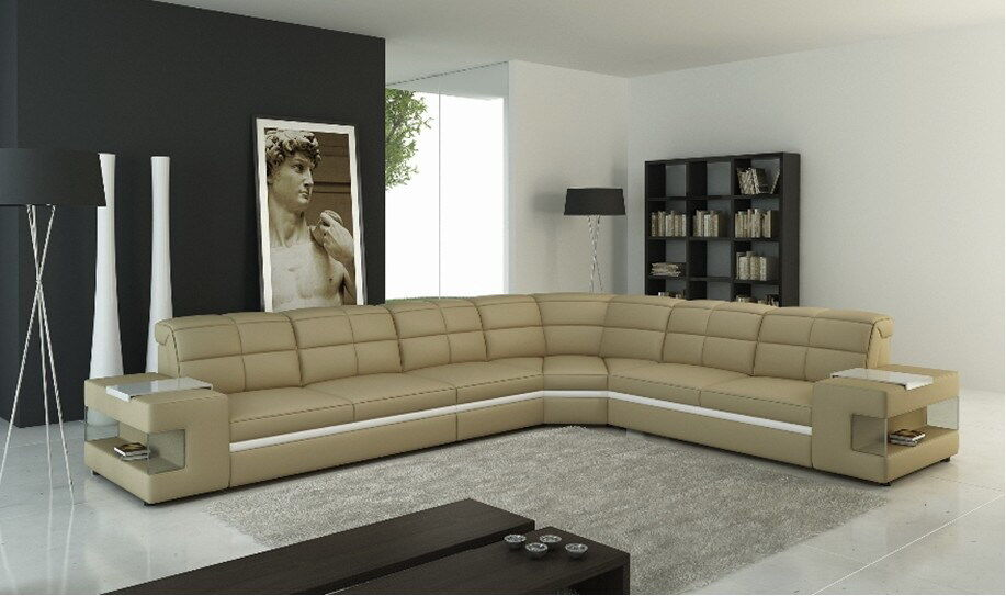ledersofa wohnlandschaft couch polster ecksofa sofa l form couchen beige phm109 4260533188323 ebay. Black Bedroom Furniture Sets. Home Design Ideas