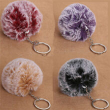 Faux Rabbit Fur Pom-pom Key Chain Bag Charm Fluffy Puff Ball Key Ring