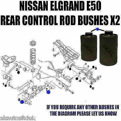 Fits NISSAN ELGRAND E50 REAR TRAILING LATERAL TRACK CONTROL ARM ROD BUSHES  7/8 | eBay