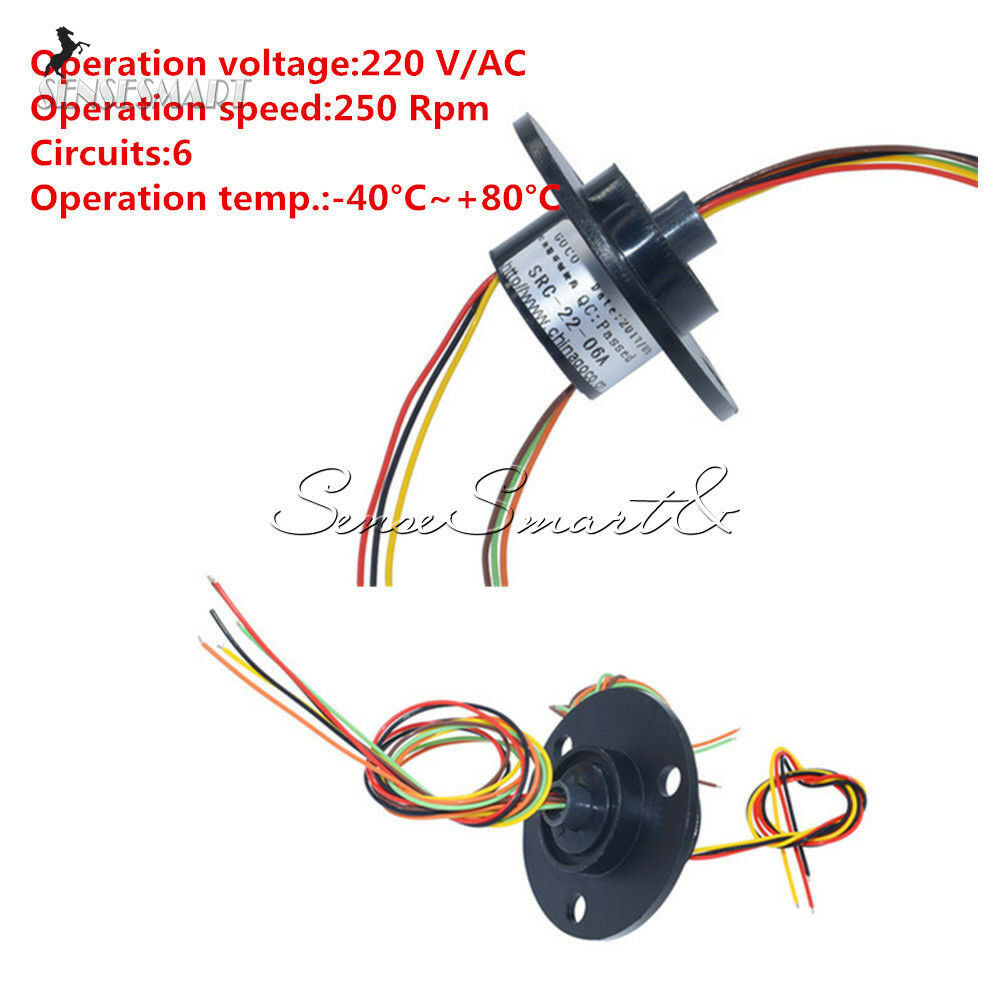 6 Wires 22mm Conductors Compact Capsule Slip Ring 220v Ac 250rpm Wiring 220 Volt Cctv Monitor Ebay