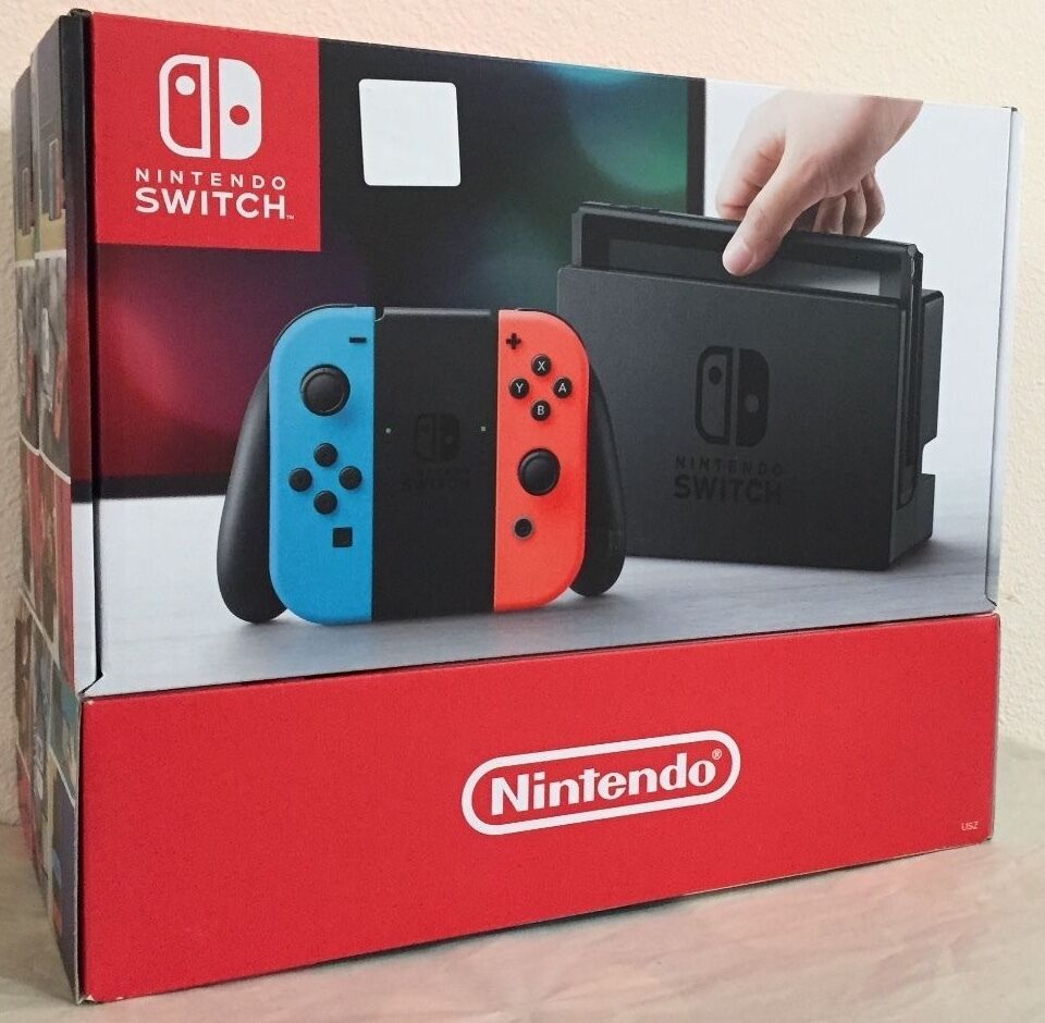 nintendo switch 32gb gray console with neon red neon blue joy con 45496590093 ebay. Black Bedroom Furniture Sets. Home Design Ideas