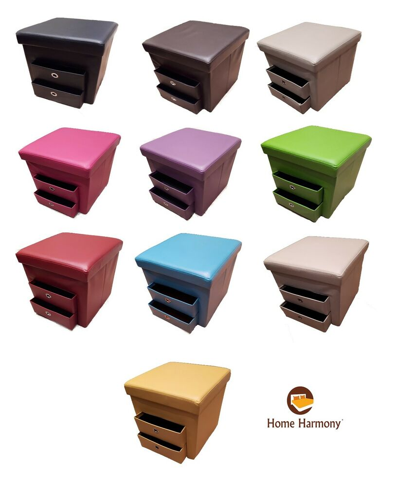 New Folding Ottoman With 2 Pull Out Drawers Compartment