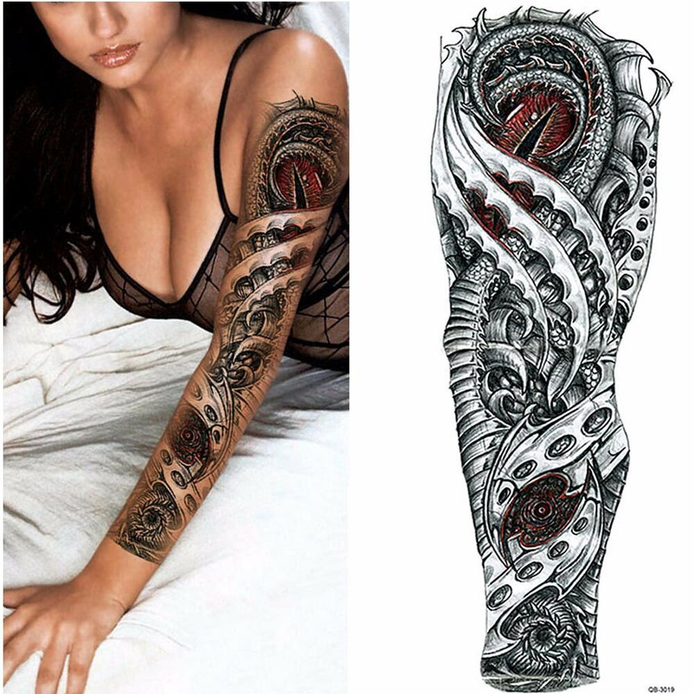Dragon robot full arm art temporary Tattoo - red and black ...