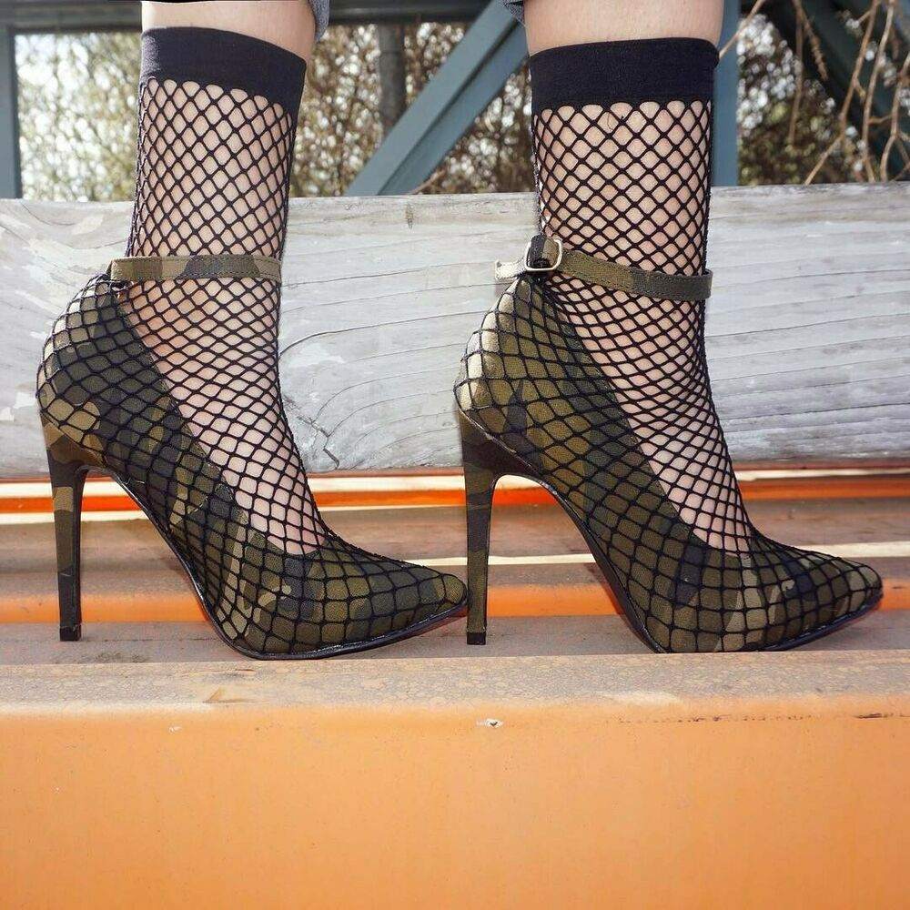 3f87e466007d8 Details about New Womens Pointy Toe Fishnet Mesh Sock Pump Shoes Booties  Ankle Strap High Heel