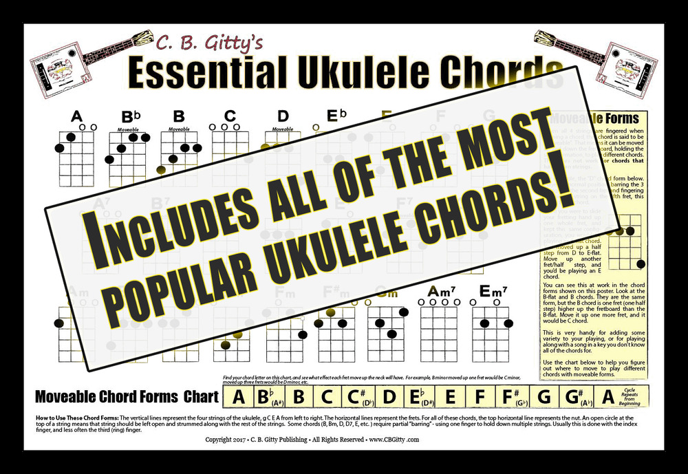 Essential Ukulele Chords Poster Glossy Full Color 12x18 Wall