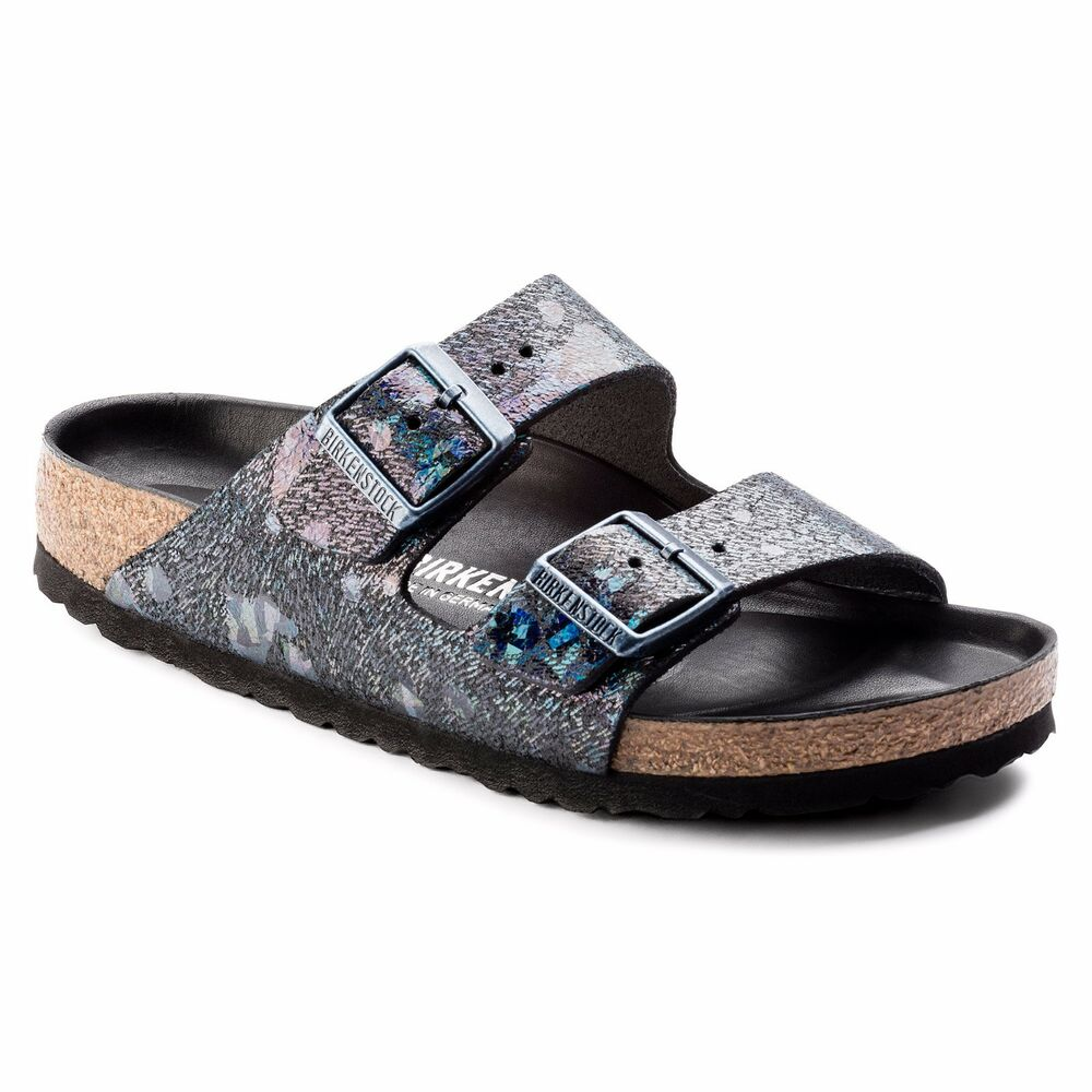 235770582be Details about CLEARANCE Birkenstock Leather ARIZONA LUX Spotted Metallic  Black BNIB 1006742