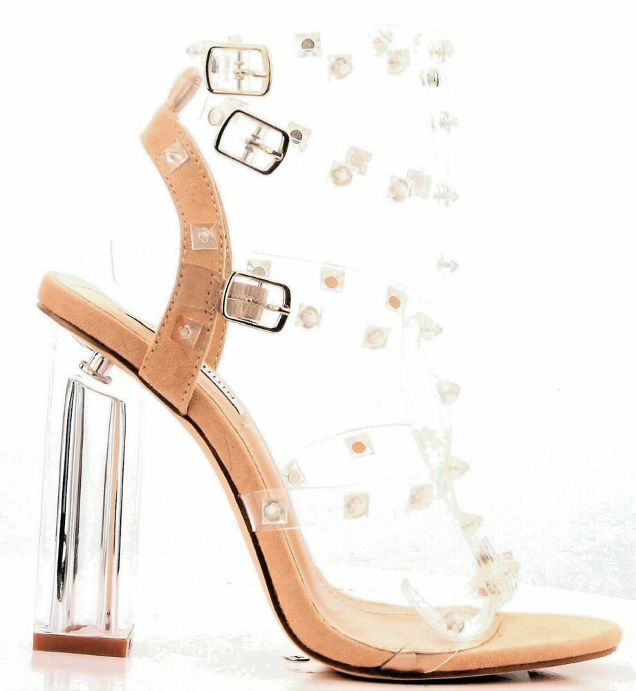 cd819f6892 Details about Cape Robbin Maria 37 Nude Studded Lucite Clear Block Heel  Open Toe Sandal Shoe