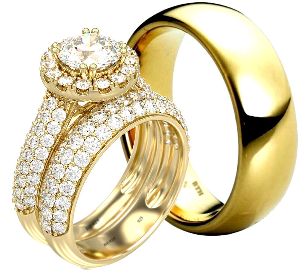 silver wedding rings for her his and hers tungsten 925 sterling silver gold tone 7463