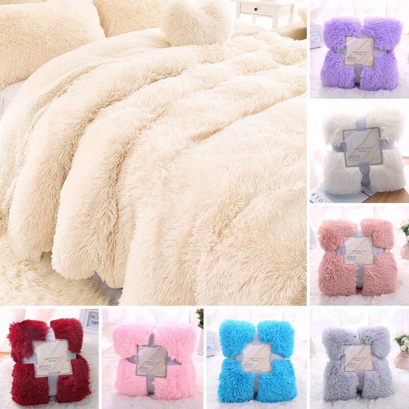 NEW Soft Warm Home Micro Plush Shaggy Fur Blanket Throw