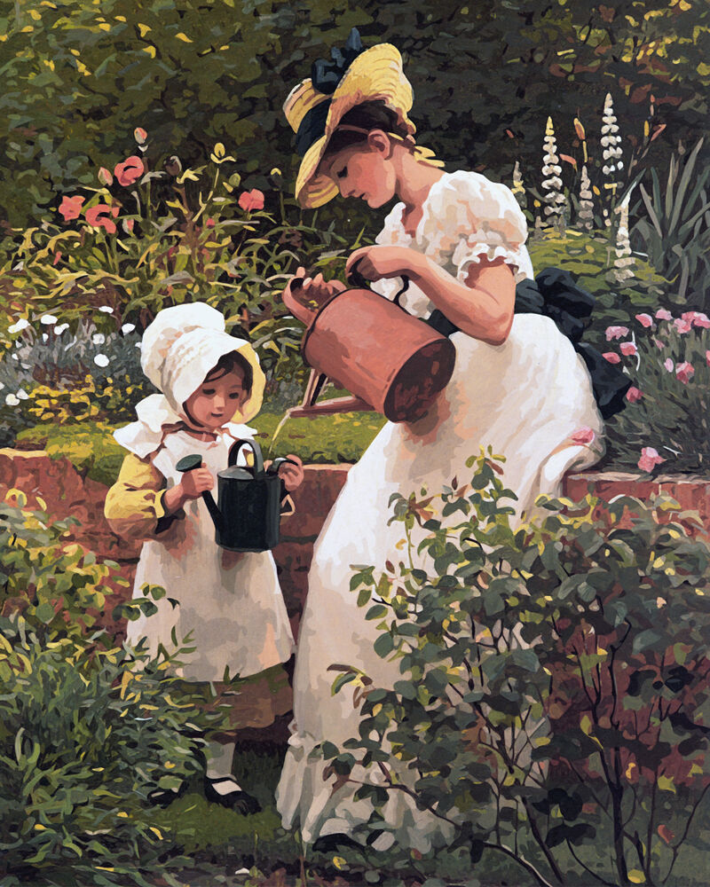 Framed Paint by Number Kit Mother Daughter Watering the Garden Painting TT7073