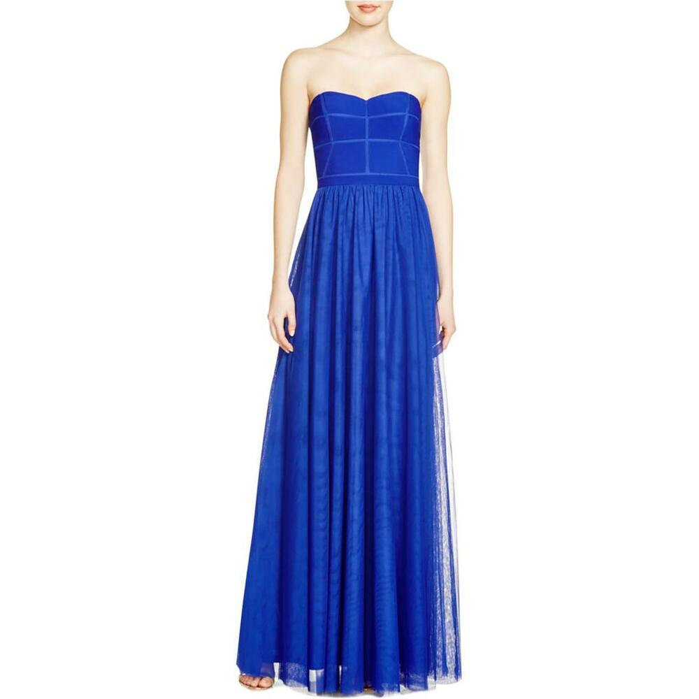 JS COLLECTIONS ~ Blue Illusion Sweetheart Strapless Mesh Formal Gown ...