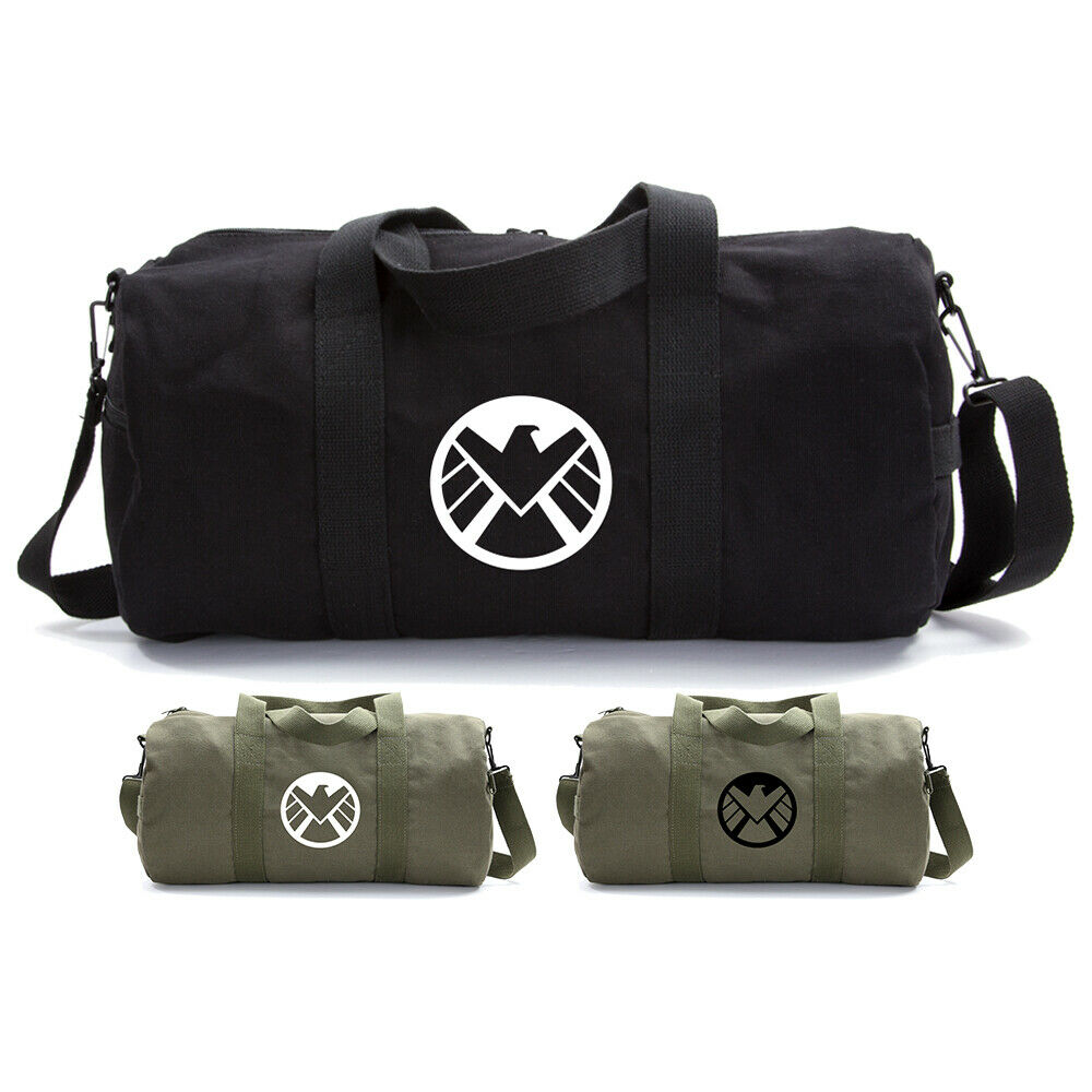 66a4aa018 Details about Marvel Agents of Shield Logo Canvas Military Duffle Bag  School Sports Gym Duffel