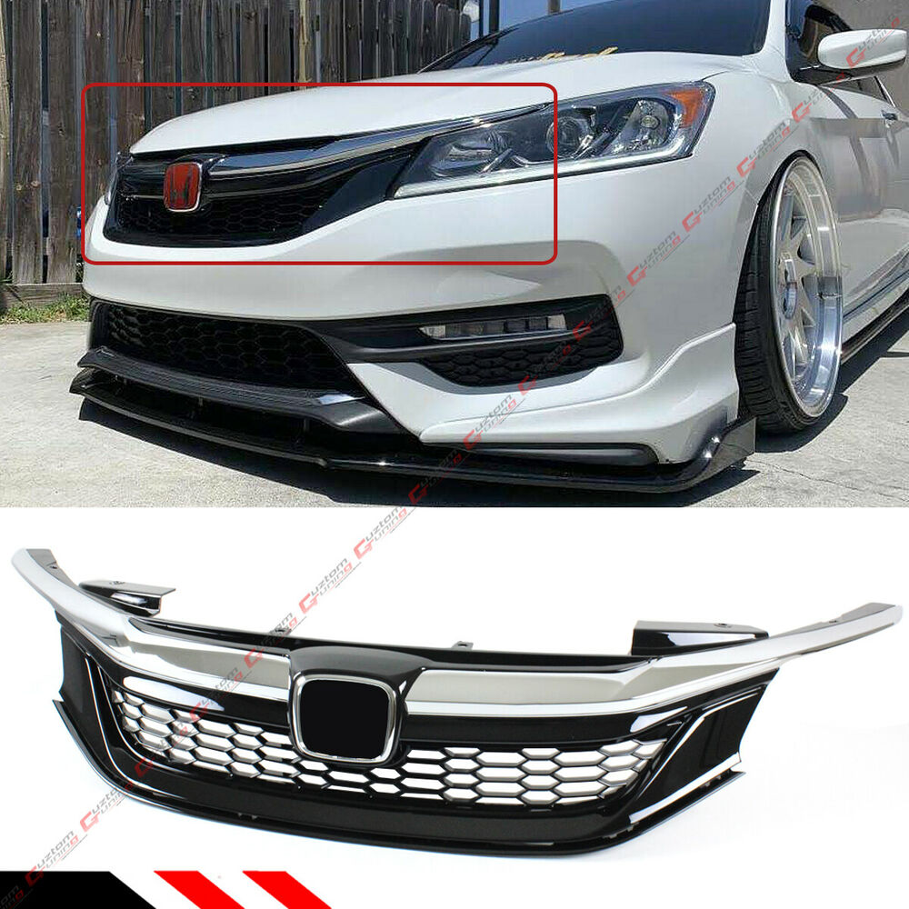 Details About For 2016 17 9th Gen Honda Accord Sedan Chrome Black Jdm Sport Style Front Grille