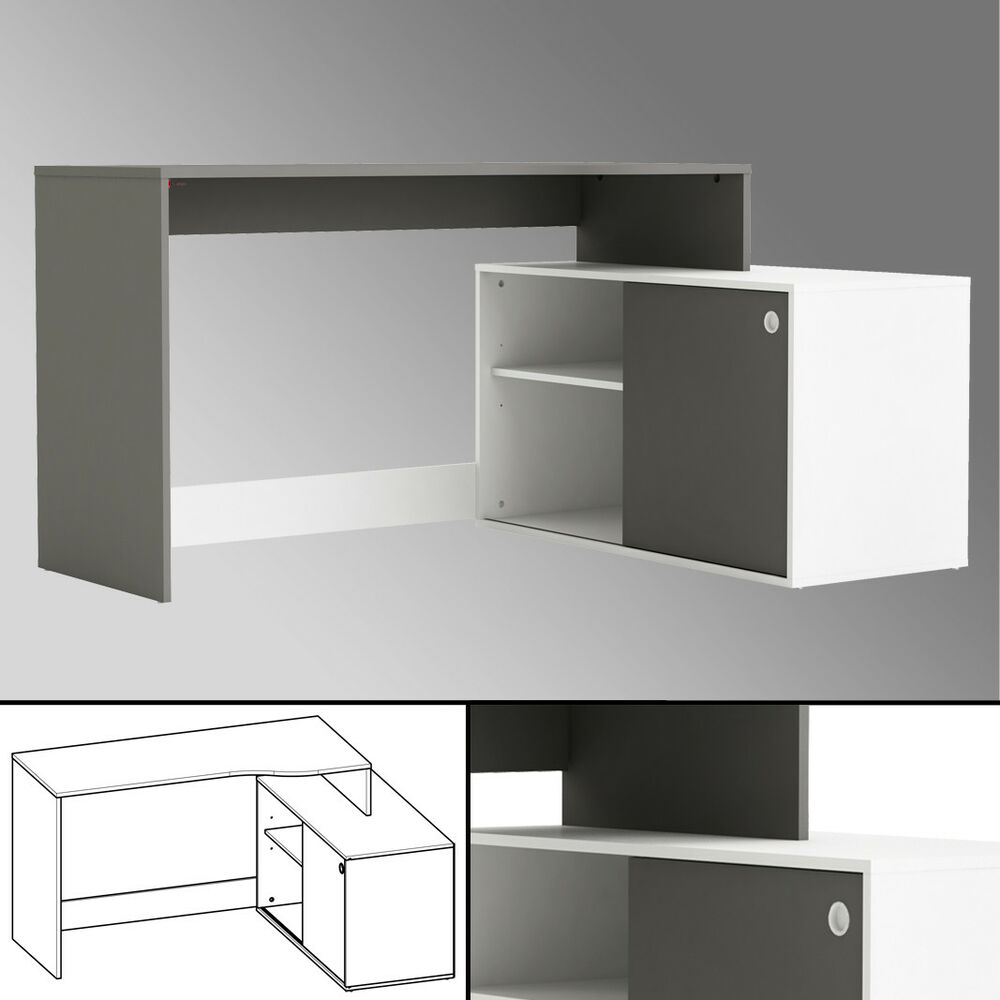 eck schreibtisch weiss anthrazit 241 schiebet r. Black Bedroom Furniture Sets. Home Design Ideas