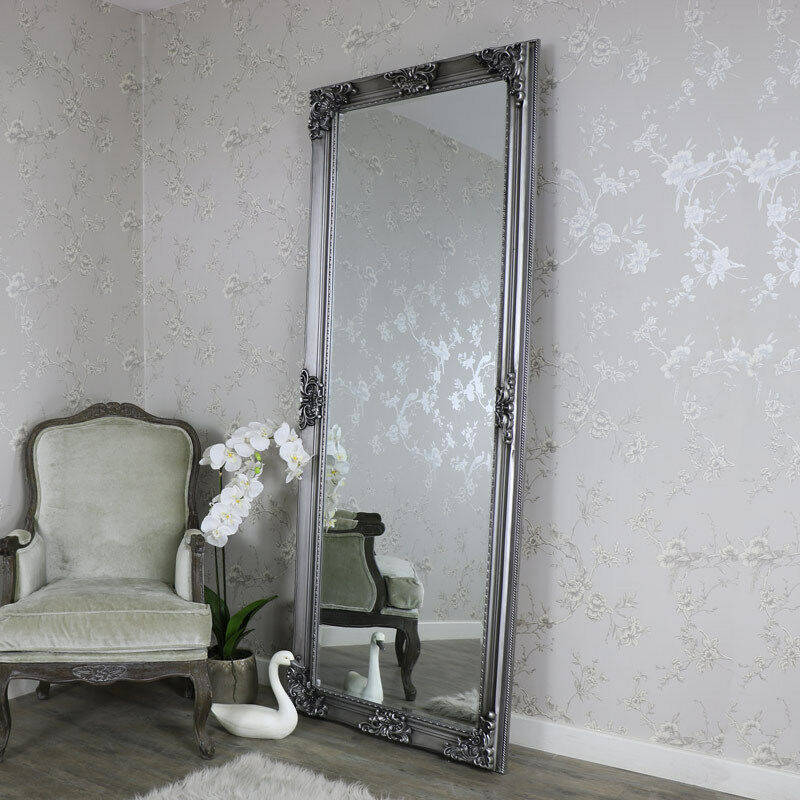 Extra Large Ornate Antique Silver Wall Floor Mirror Full