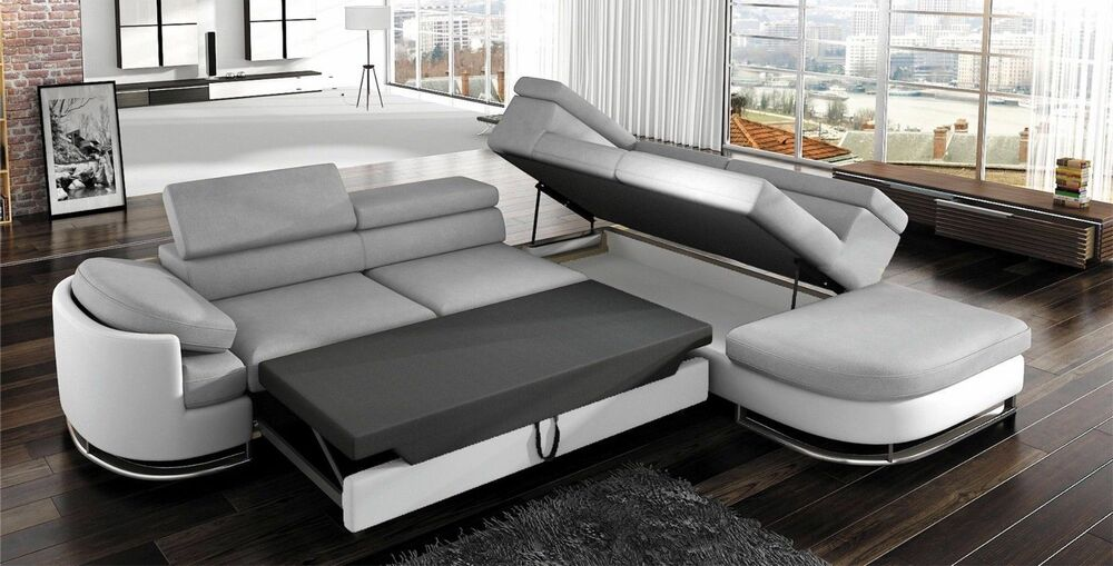 corner sofa with sleep function koko bed box black beige red grey couch sofa new ebay