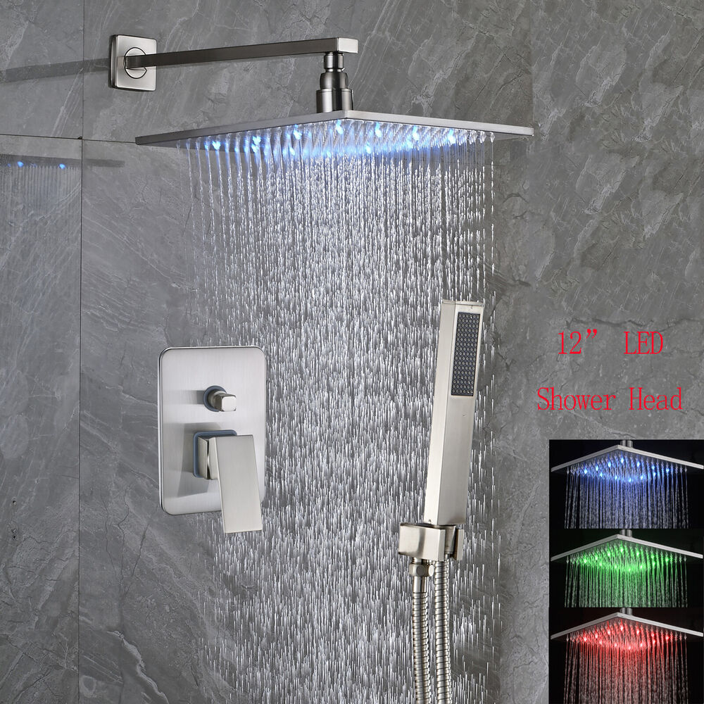12 Led Rain Shower Faucet Set Brushed Nickel Wall Mount Shower Trim