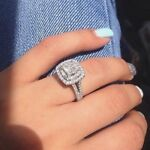 Certified 3.20Ct Princess White Diamond Halo Engagement Ring in 14K White Gold