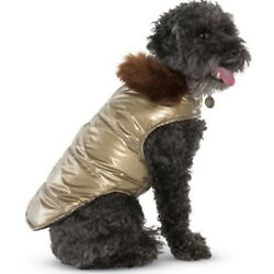 Aspen Quilted Gold Puffer Coat with Faux Fur Collar Size 14 Medium