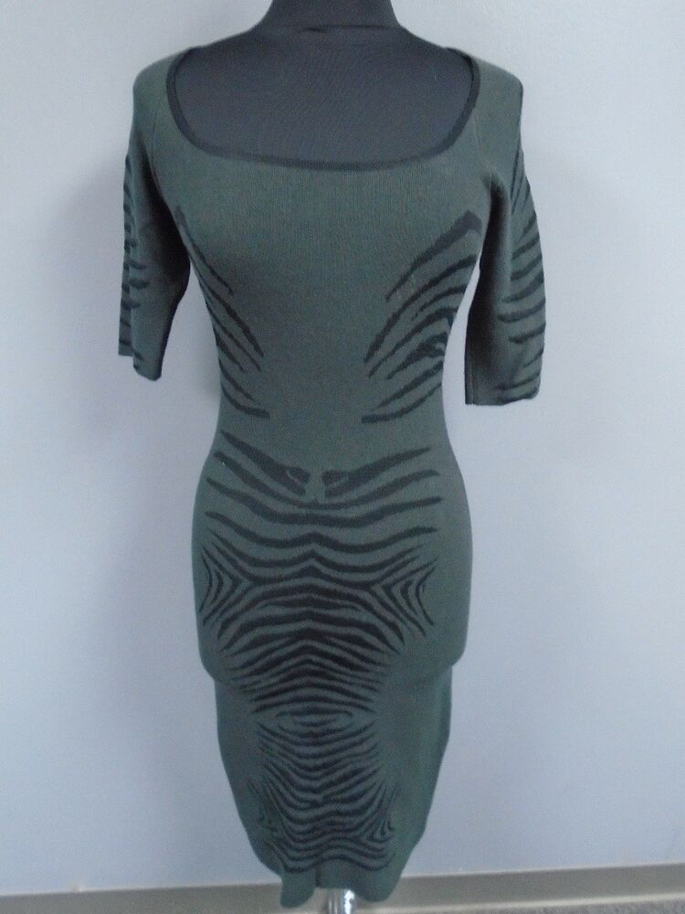 034c770a4fe Details about ZAC POSEN Gray Black Viscose Blend 3 4 Sleeve Fitted Sweater  Dress Size S DD4529
